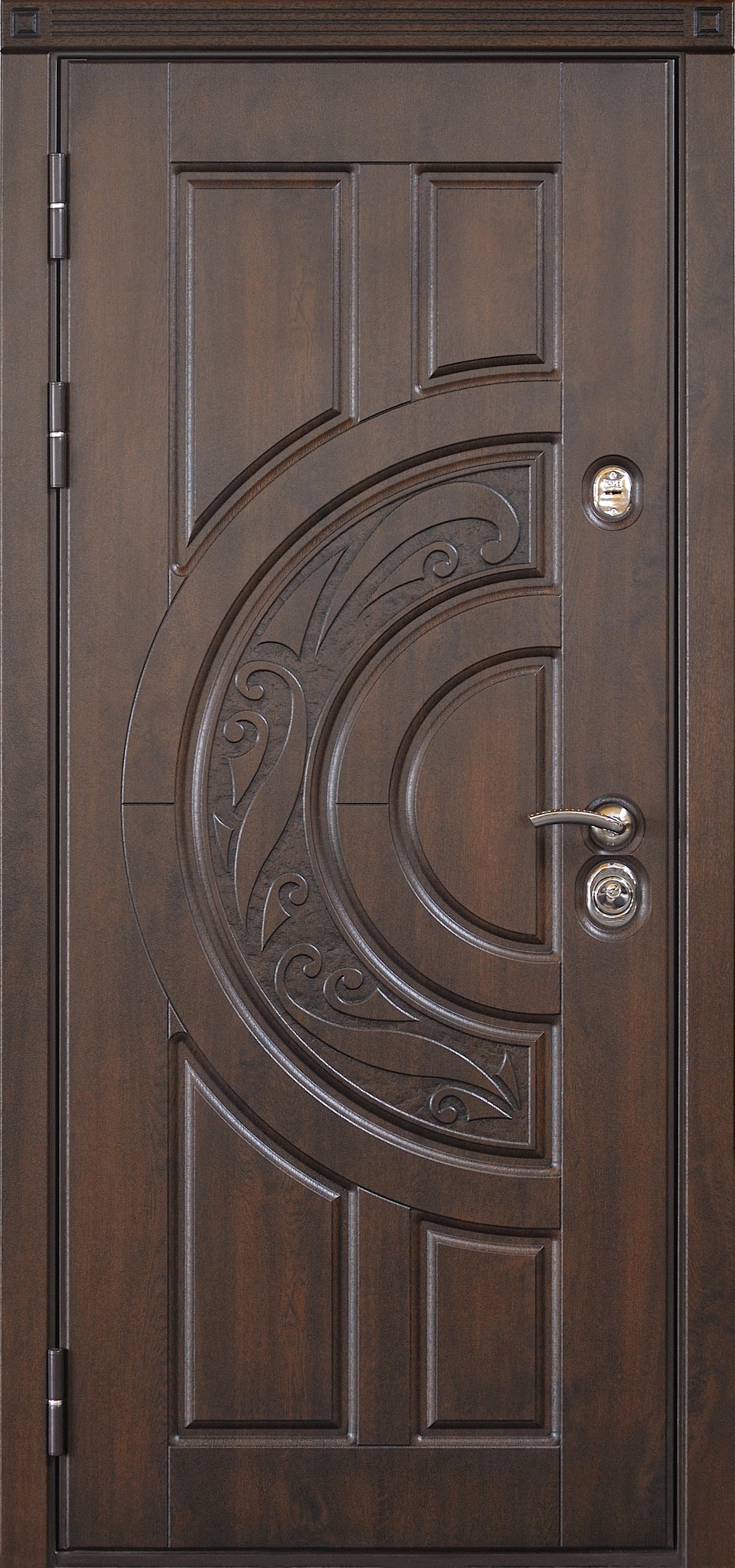 Дверь  с наружней панелью без уголка с мдф наличниками